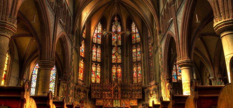 church, altar, pews