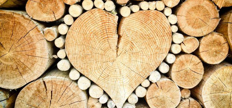 heart, wood, logs