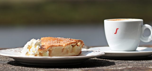 coffee, cake, apple pie